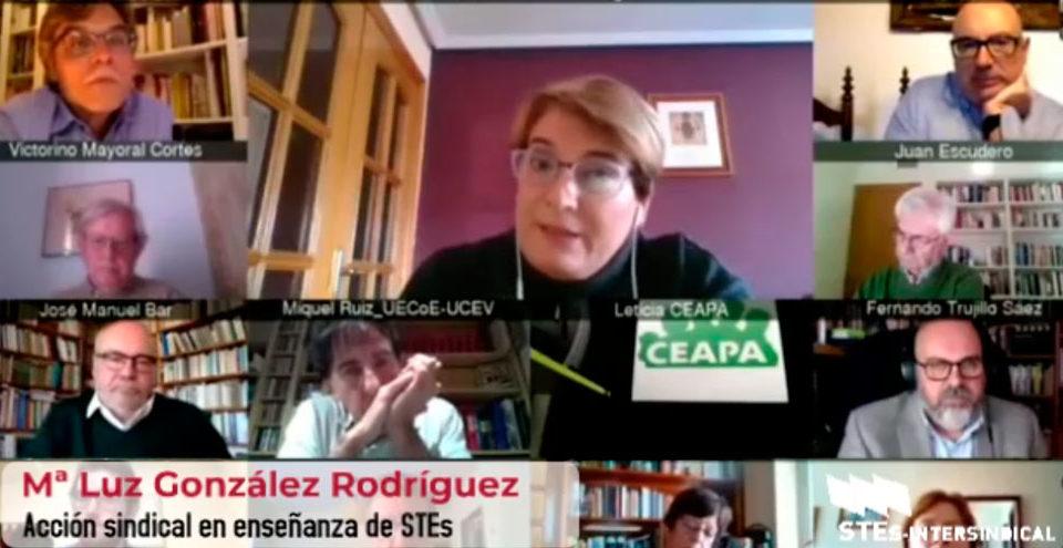 Encuentro con la Comunidad Educativa sobre la LOMLOE. Intervención de la responsable de acción sindical de STEs-i.